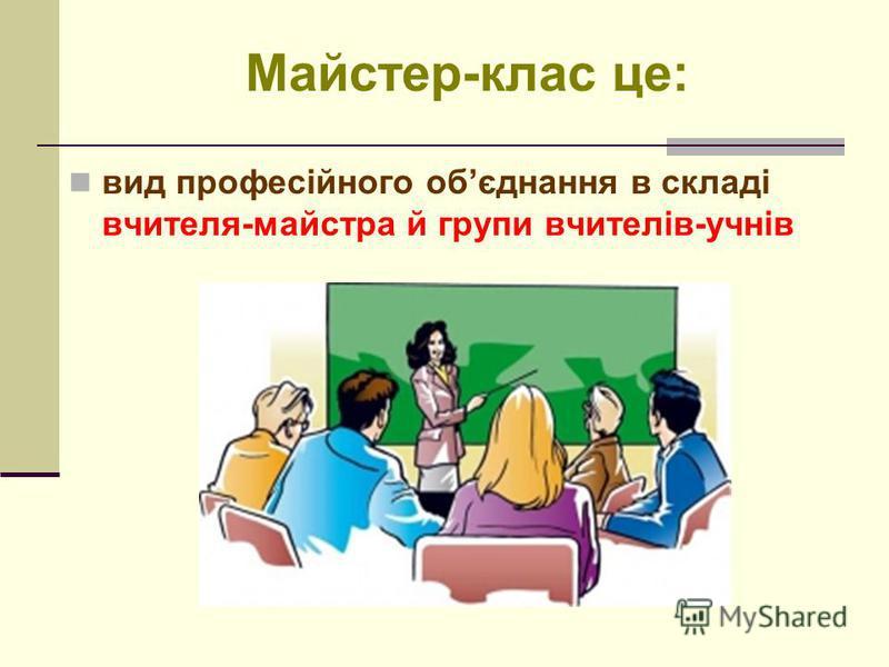 Майстер-клас це: вид професійного обєднання в складі вчителя-майстра й групи вчителів-учнів