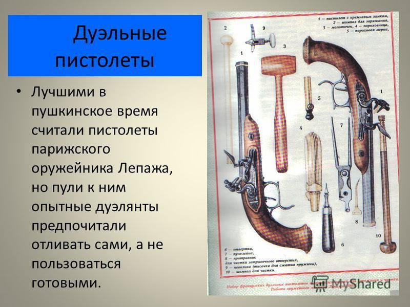 Дуэльные пистолеты Лучшими в пушкинское время считали пистолеты парижского оружейника Лепажа, но пули к ним опытные дуэлянты предпочитали отливать сами, а не пользоваться готовыми.
