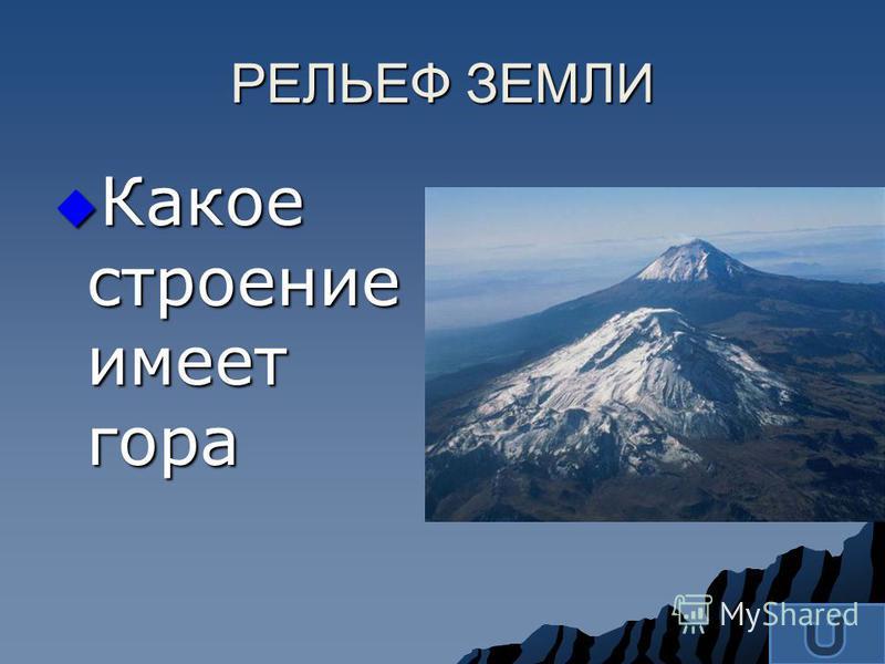 Какое строение имеет гора Какое строение имеет гора РЕЛЬЕФ ЗЕМЛИ