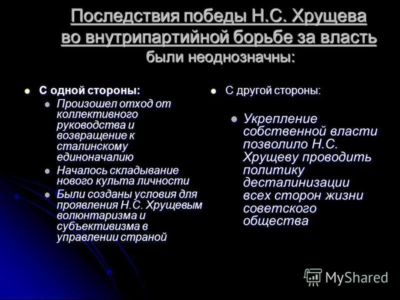 Последствия победы Н.С. Хрущева во внутрипартийной борьбе за власть были неоднозначны: С одной стороны: С одной стороны: Произошел отход от коллективного руководства и возвращение к сталинскому единоначалию Произошел отход от коллективного руководств