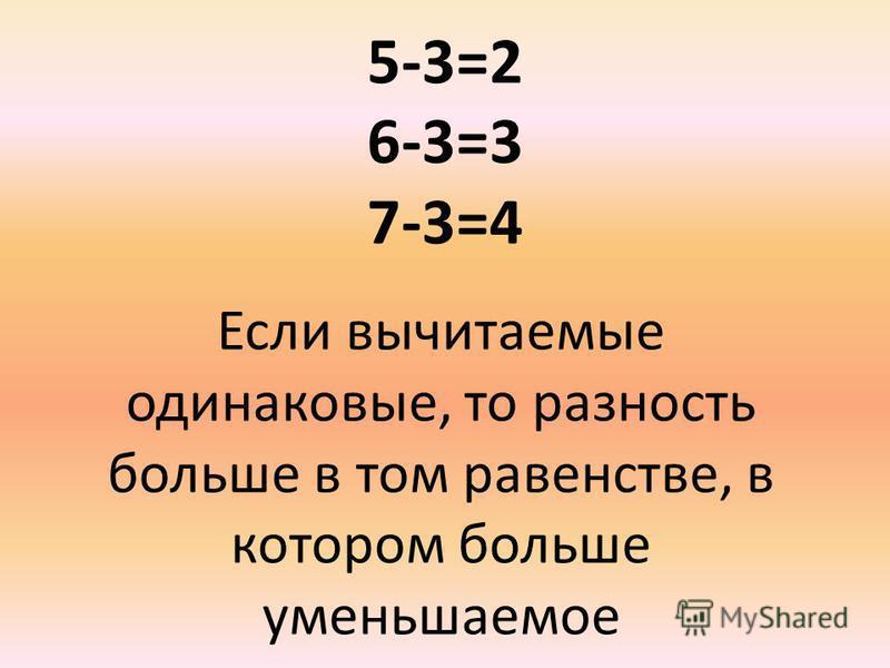 5-3=2 6-3=3 7-3=4 Если вычитаемые одинаковые, то разность больше в том равенстве, в котором больше уменьшаемое