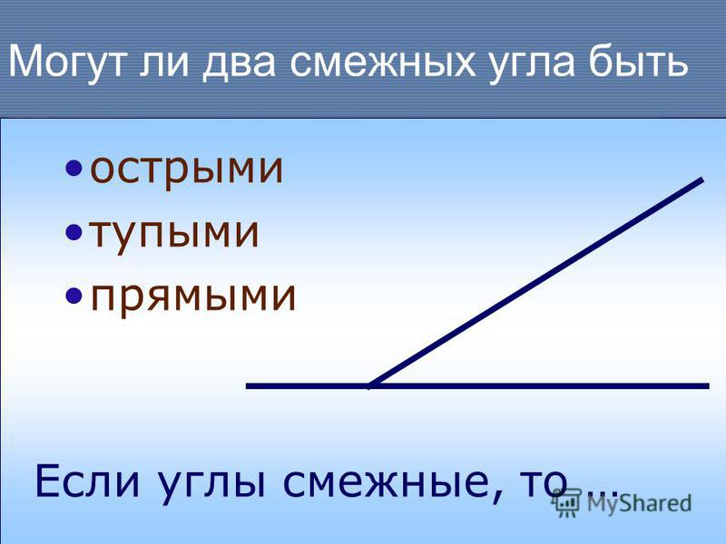 Могут ли два смежных угла быть острыми тупыми прямыми Если углы смежные, то …
