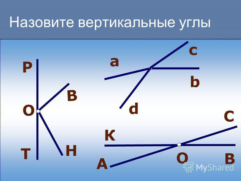 Назовите вертикальные углы а с b О Р В Н Т А К С В О d