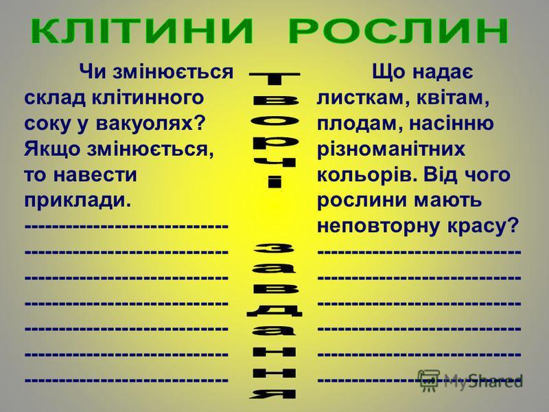 Чи змінюється склад клітинного соку у вакуолях? Якщо змінюється, то навести приклади. ----------------------------- ----------------------------- ----------------------------- ----------------------------- ----------------------------- --------------
