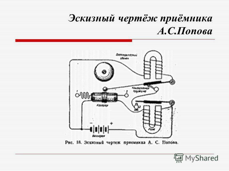 Эскизный чертёж приёмника А.С.Попова