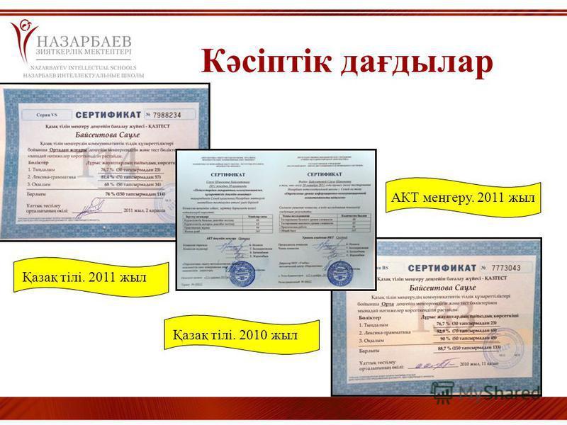 Кәсіптік дағдылар Қазақ тілі. 2010 жыл АКТ меңгеру. 2011 жыл Қазақ тілі. 2011 жыл