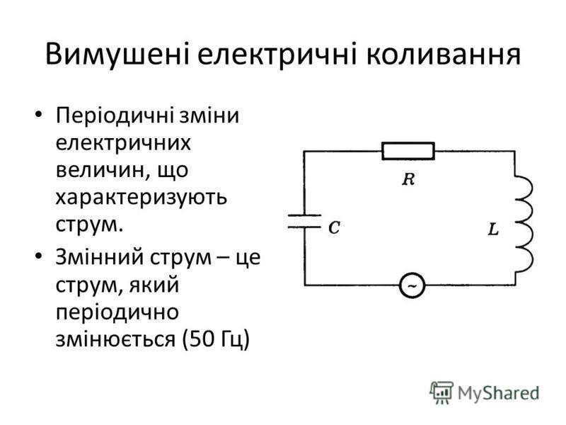Вимушені електричні коливання Періодичні зміни електричних величин, що характеризують струм. Змінний струм – це струм, який періодично змінюється (50 Гц)