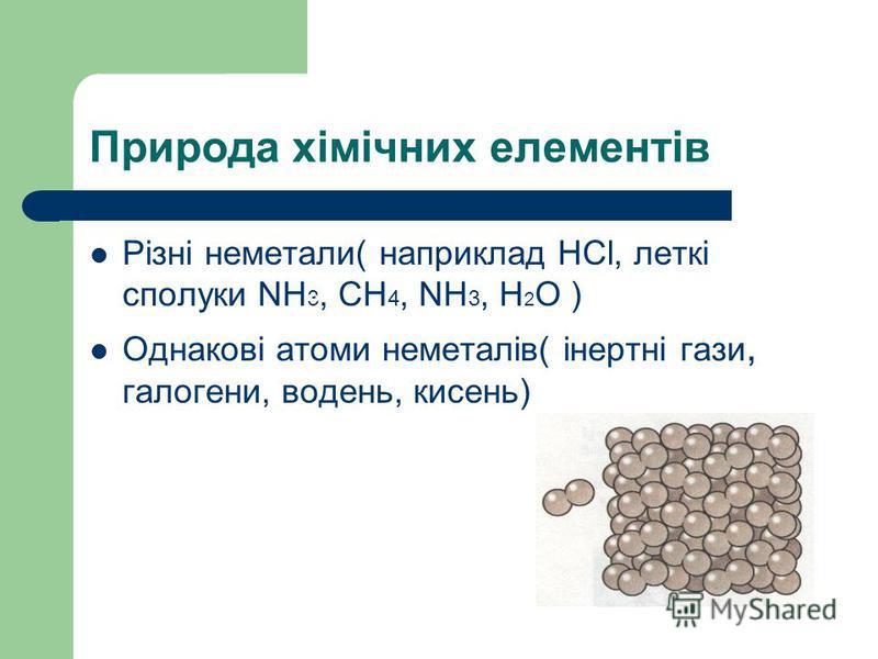 Природа хімічних елементів Різні неметали( наприклад HCl, леткі сполуки NH 3, СН 4, NH 3, H 2 O ) Однакові атоми неметалів( інертні гази, галогени, водень, кисень)