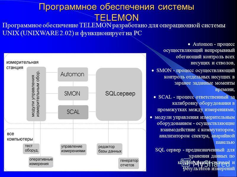 Программное обеспечения системы TELEMON Automon - процесс осуществляющий непрерывный обегающий контроль всех несущих и стволов, SMON - процесс осуществляющий контроль отдельных несущих в заранее заданные моменты времени, SCAL - процесс ответственный