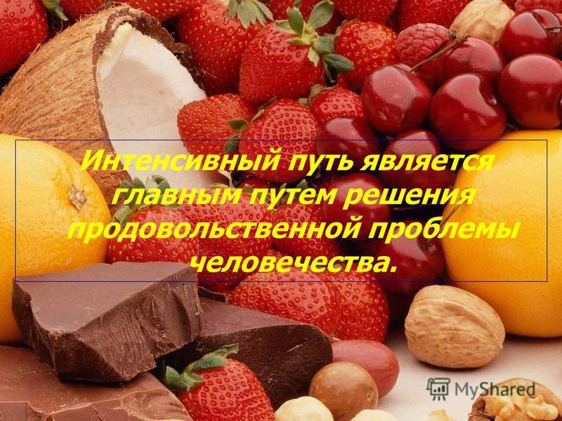 Интенсивный путь является главным путем решения продовольственной проблемы человечества.