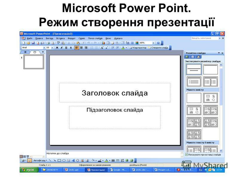 Microsoft Power Point. Режим створення презентації