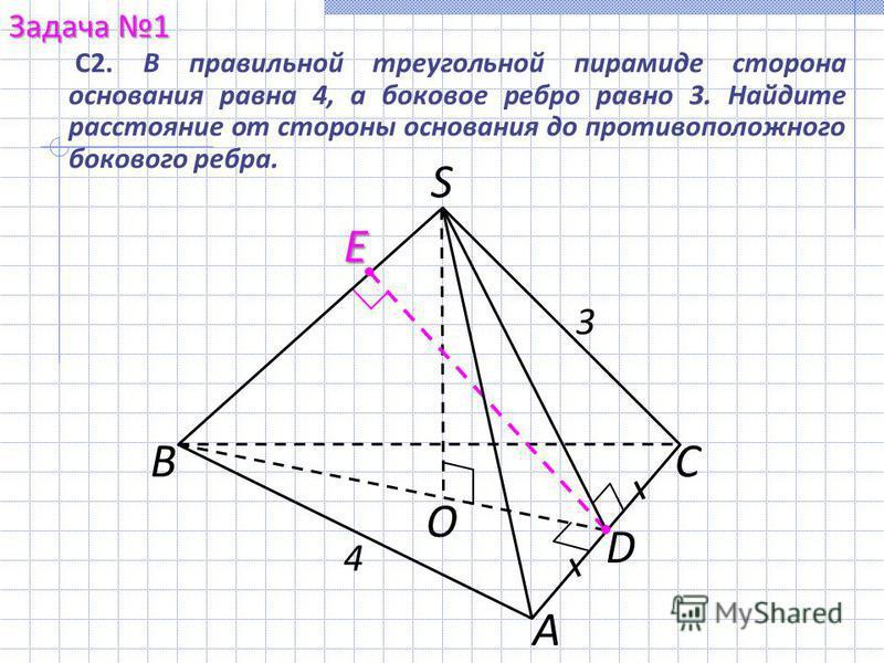 С2. В правильной треугольной пирамиде сторона основания равна 4, а боковое ребро равно 3. Найдите расстояние от стороны основания до противоположного бокового ребра. Задача 1 А СВ S O D E 3 4