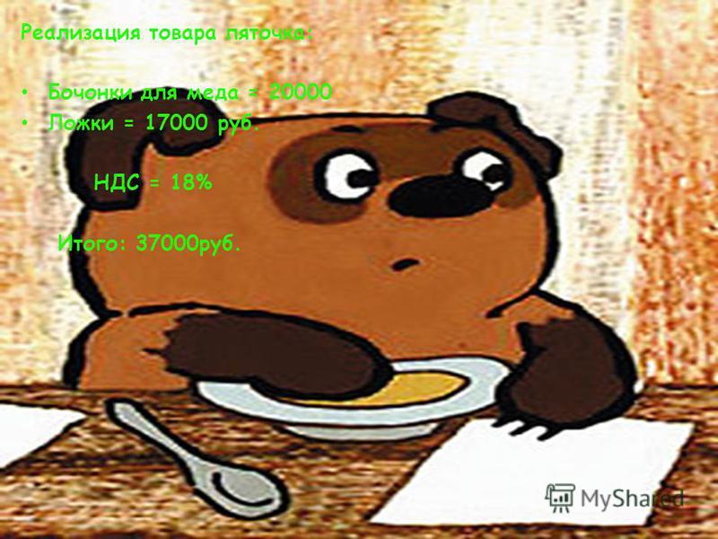 Реализация товара пяточка: Бочонки для меда = 20000 Ложки = 17000 руб. НДС = 18% Итого: 37000 руб.