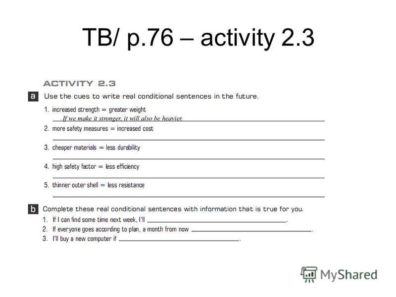 TB/ p.76 – activity 2.3