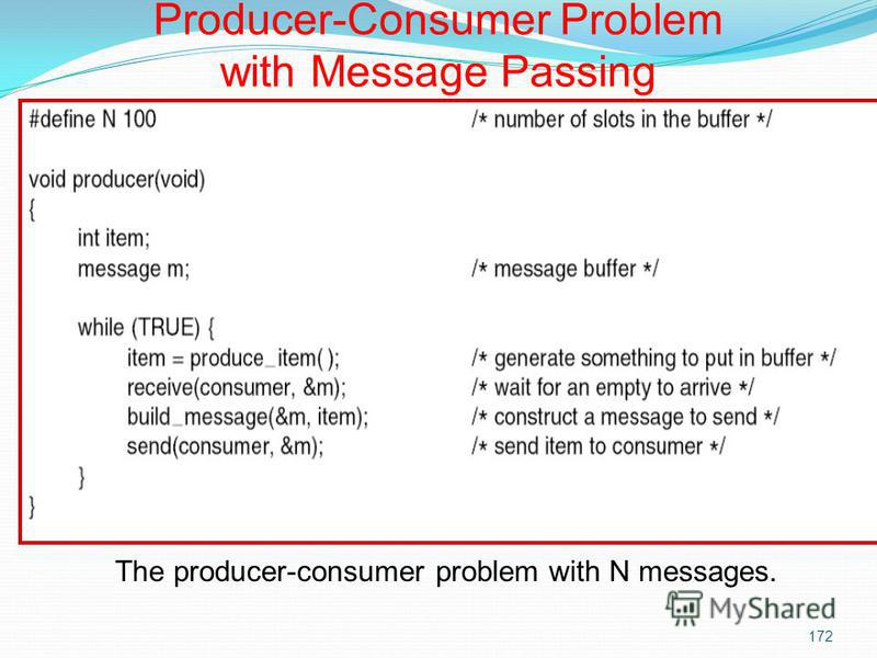 172 The producer-consumer problem with N messages. Producer-Consumer Problem with Message Passing
