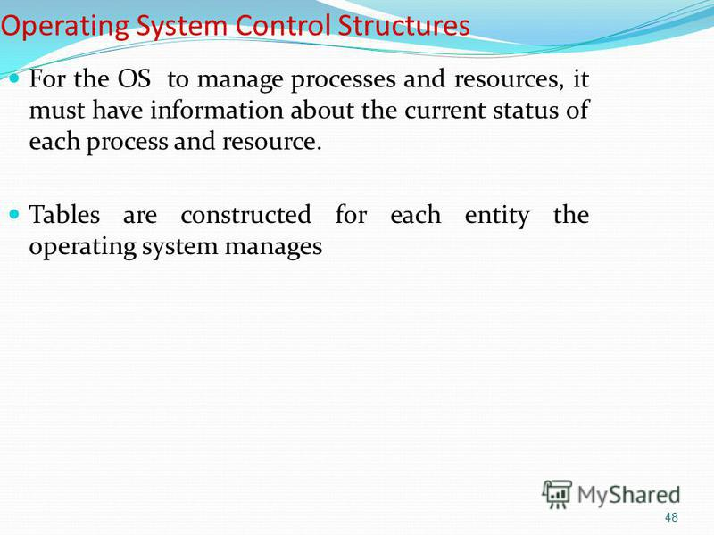 48 Operating System Control Structures For the OS to manage processes and resources, it must have information about the current status of each process and resource. Tables are constructed for each entity the operating system manages