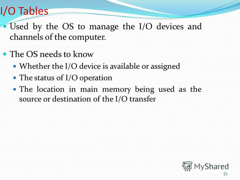 51 I/O Tables Used by the OS to manage the I/O devices and channels of the computer. The OS needs to know Whether the I/O device is available or assigned The status of I/O operation The location in main memory being used as the source or destination