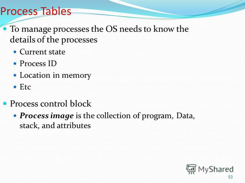 53 Process Tables To manage processes the OS needs to know the details of the processes Current state Process ID Location in memory Etc Process control block Process image is the collection of program, Data, stack, and attributes