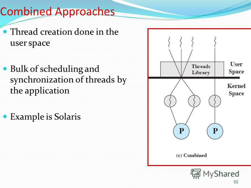 92 Combined Approaches Thread creation done in the user space Bulk of scheduling and synchronization of threads by the application Example is Solaris