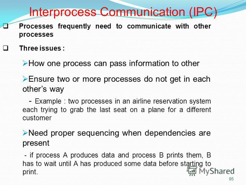 95 Processes frequently need to communicate with other processes Three issues : How one process can pass information to other Ensure two or more processes do not get in each others way - Example : two processes in an airline reservation system each t