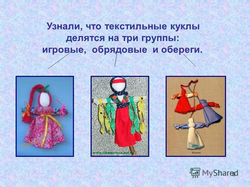 8 Узнали, что текстильные куклы делятся на три группы: игровые, обрядовые и обереги.