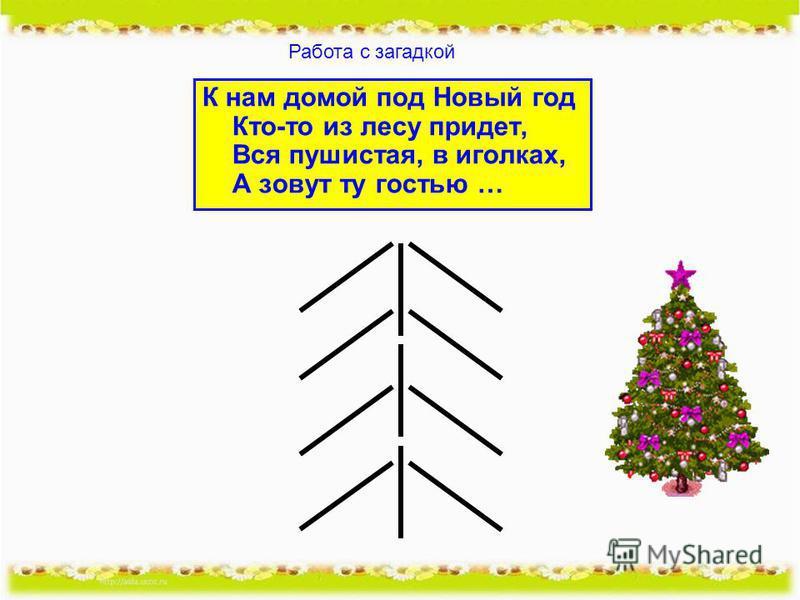 К нам домой под Новый год Кто-то из лесу придет, Вся пушистая, в иголках, А зовут ту гостью … Работа с загадкой