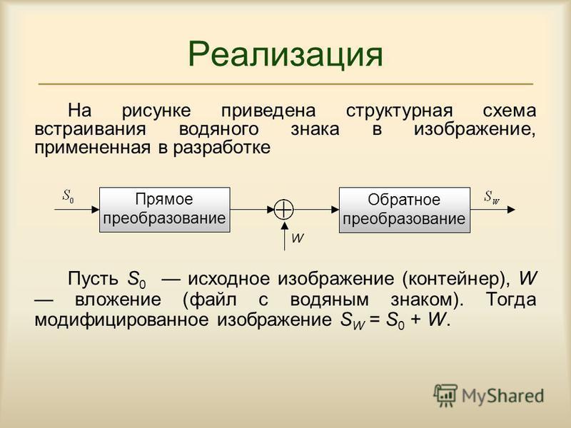Реализация На рисунке приведена структурная схема встраивания водяного знака в изображение, примененная в разработке Пусть S 0 исходное изображение (контейнер), W вложение (файл с водяным знаком). Тогда модифицированное изображение S W = S 0 + W. W П