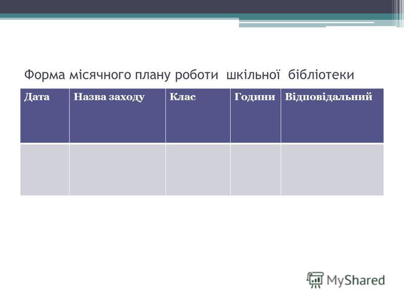 Форма місячного плану роботи шкільної бібліотеки ДатаНазва заходуКласГодиниВідповідальний