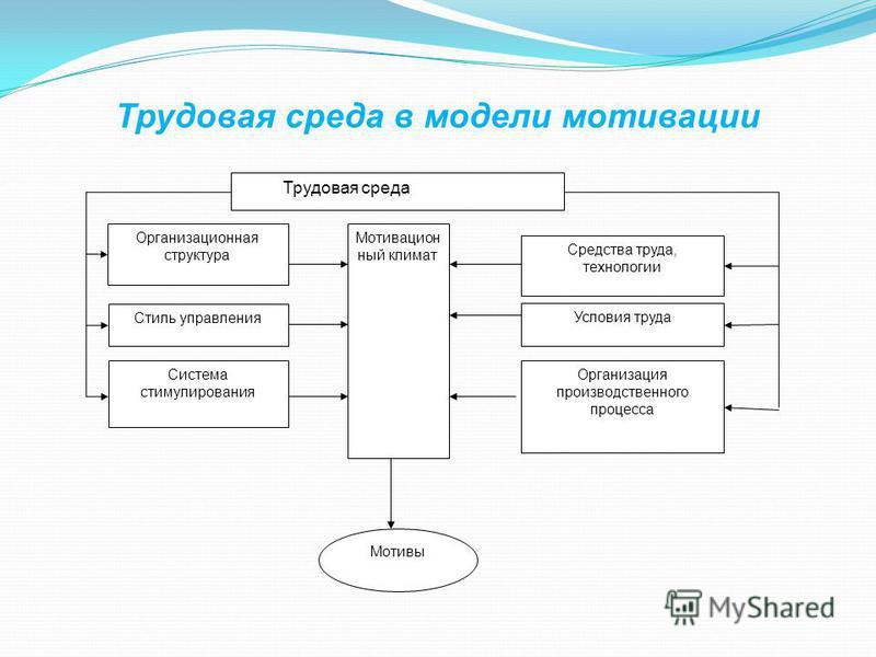 Трудовая среда в модели мотивации Организационная структура Средства труда, технологии Мотивацион ный климат Стиль управления Система стимулирования Организация производственного процесса Условия труда Мотивы Трудовая среда