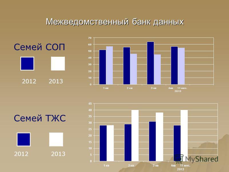 Межведомственный банк данных Семей СОП 2012 2013 Семей ТЖС 2012 2013