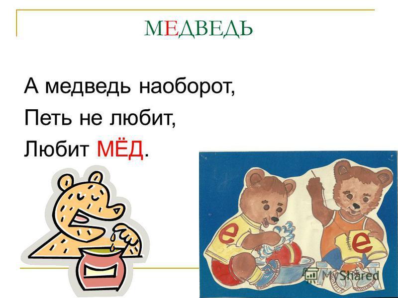 МЕДВЕДЬ А медведь наоборот, Петь не любит, Любит МЁД.