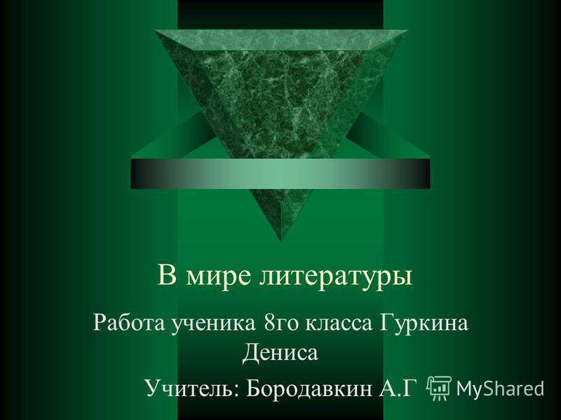 В мире литературы Рапота ученика 8 го класса Гуркина Дениса Учитель: Бородавкин А.Г