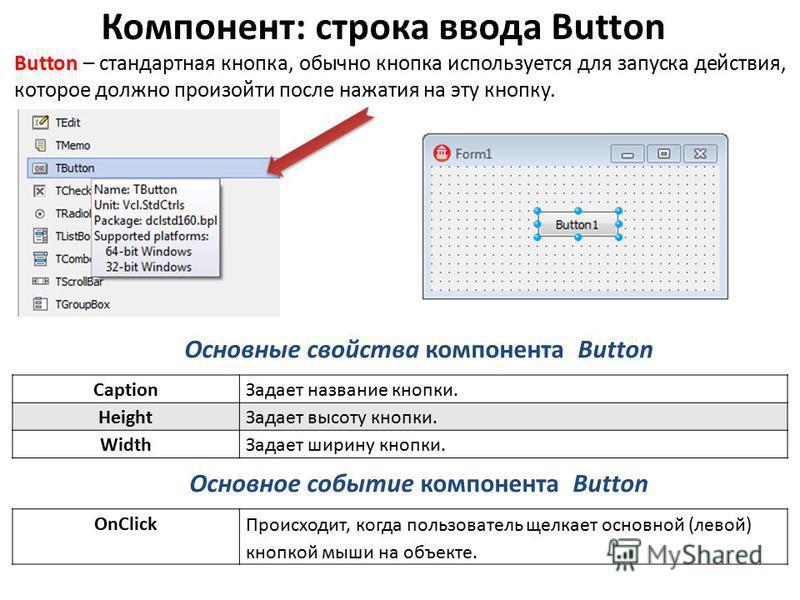 Компонент: строка ввода Button Button – стандартная кнопка, обычно кнопка используется для запуска действия, которое должно произойти после нажатия на эту кнопку. Основные свойства компонента Button Основное событие компонента Button Caption Задает н