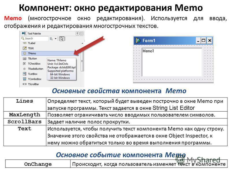 Компонент: окно редактирования Memo Memo (многострочное окно редактирования). Используется для ввода, отображения и редактирования многострочных текстов. Основные свойства компонента Memo Основное событие компонента Memo Lines Определяет текст, котор