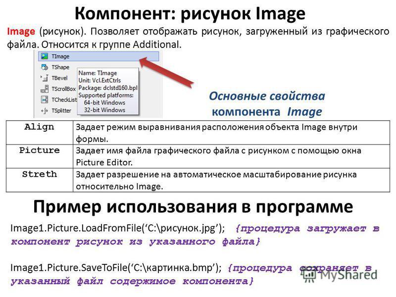 Компонент: рисунок Image Image (рисунок). Позволяет отображать рисунок, загруженный из графического файла. Относится к группе Additional. Основные свойства компонента Image Align Задает режим выравнивания расположения объекта Image внутри формы. Pict