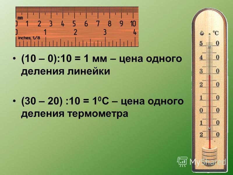 (10 – 0):10 = 1 мм – цена одного деления линейки (30 – 20) :10 = 1 0 С – цена одного деления термометра