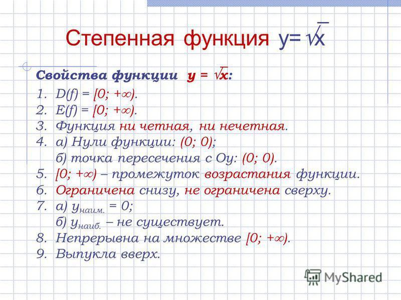 1.D(f) = [0; + ). 2.E(f) = [0; + ). 3. Функция ни четная, ни нечетная. 4.а) Нули функции: (0; 0); б) точка пересечения с Оу: (0; 0). 5.[0; + ) – промежуток возрастания функции. 6. Ограничена снизу, не ограничена сверху. 7.а) у наим. = 0; б) у наиб. –