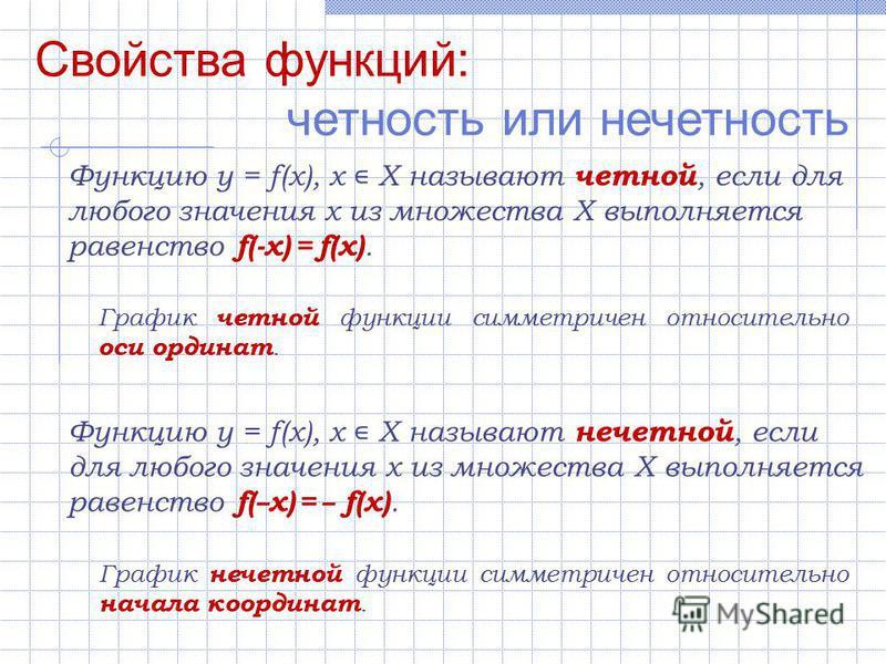 Свойства функций: четность или нечетность Функцию y = f(x), х Х называют четной, если для любого значения х из множества Х выполняется равенство f(-x) = f(x). Функцию y = f(x), х Х называют нечетной, если для любого значения х из множества Х выполняе