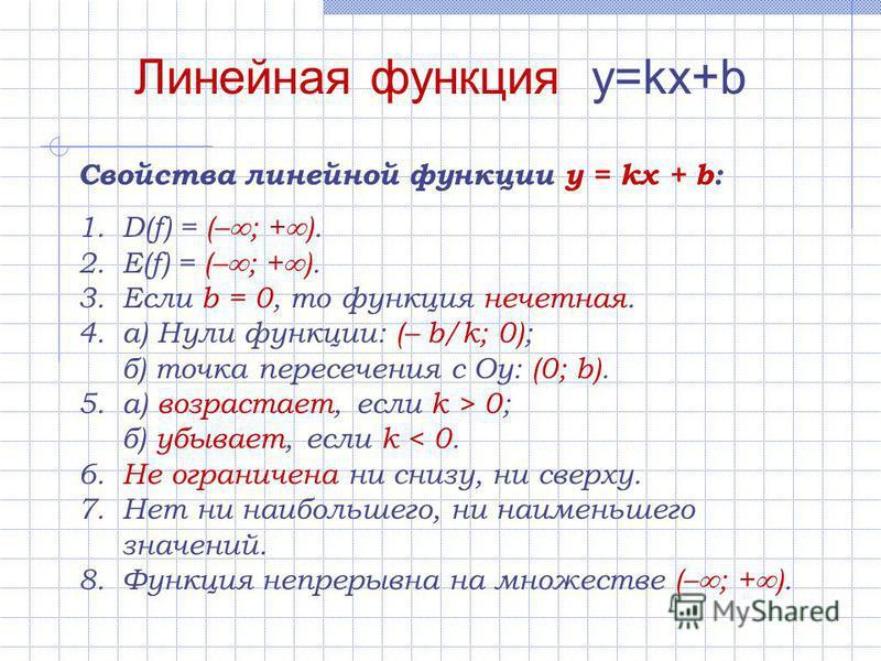 Линейная функция y=kx+b Свойства линейной функции y = kx + b: 1.D(f) = (– ; + ). 2.E(f) = (– ; + ). 3. Если b = 0, то функция нечетная. 4.а) Нули функции: (– b/k; 0); б) точка пересечения с Оу: (0; b). 5.а) возрастает, если k > 0; б) убывает, если k