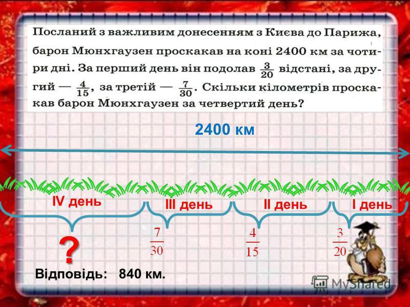 І деньІІ день ІV день ІІІ день 2400 км ? Відповідь:840 км.