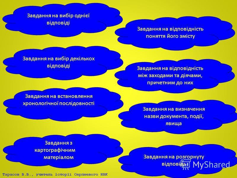Тарасов В.В., учитель історії Серпневого НВК Завдання на вибір однієї відповіді Завдання на вибір декількох відповіді Завдання на встановлення хронологічної послідовності подій подій Завдання з картографічнимим матеріалом Завдання на відповідність мі
