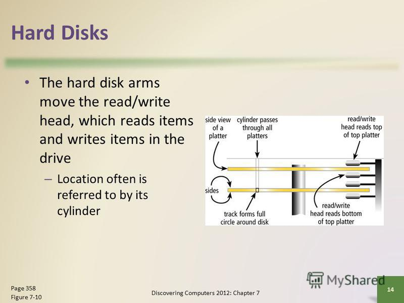 Hard Disks The hard disk arms move the read/write head, which reads items and writes items in the drive – Location often is referred to by its cylinder Discovering Computers 2012: Chapter 7 14 Page 358 Figure 7-10