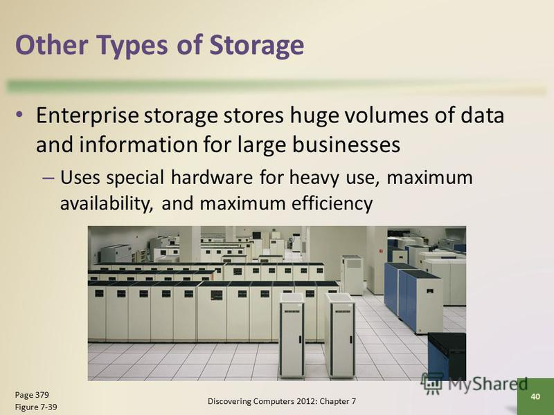 Other Types of Storage Enterprise storage stores huge volumes of data and information for large businesses – Uses special hardware for heavy use, maximum availability, and maximum efficiency Discovering Computers 2012: Chapter 7 40 Page 379 Figure 7-