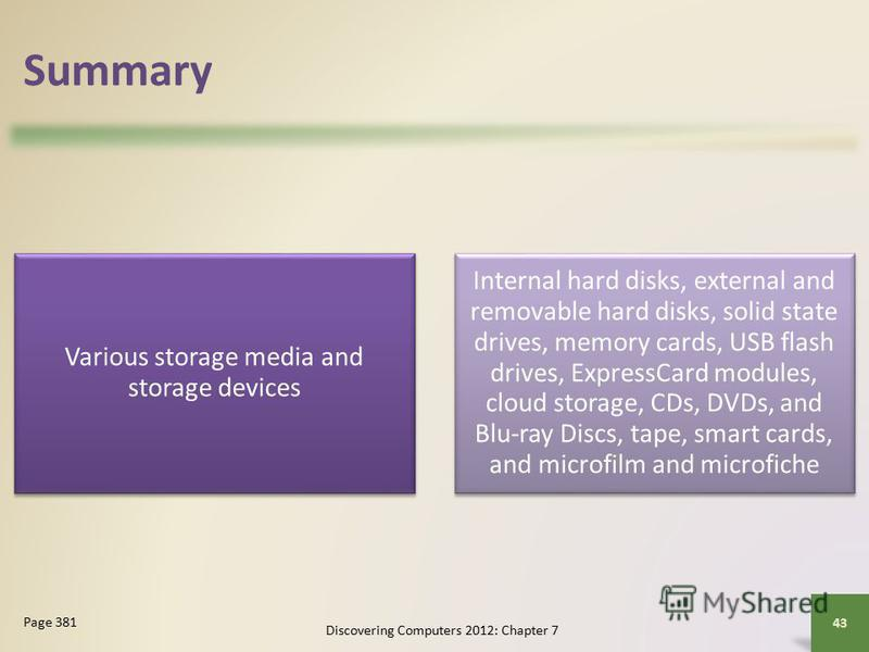 Summary Various storage media and storage devices Internal hard disks, external and removable hard disks, solid state drives, memory cards, USB flash drives, ExpressCard modules, cloud storage, CDs, DVDs, and Blu-ray Discs, tape, smart cards, and mic