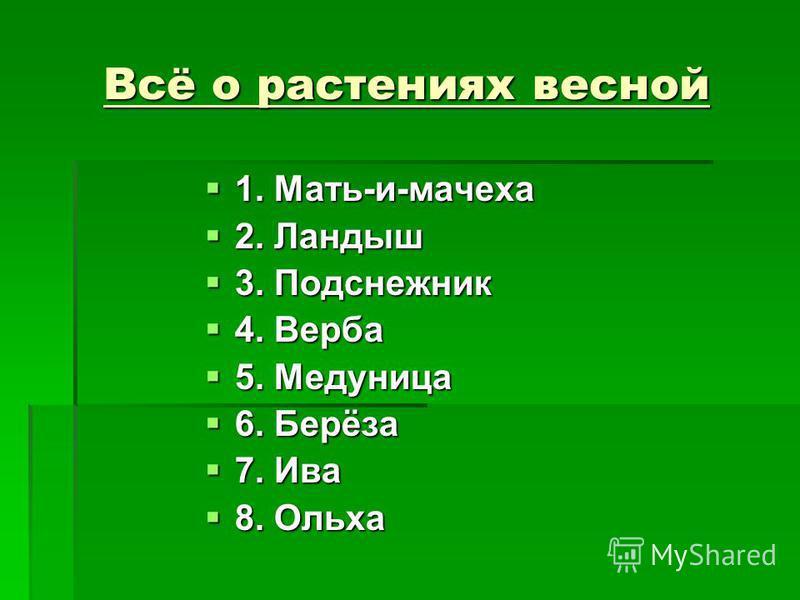 Всё о растениях весной 1. Мать-и-мачеха 1. Мать-и-мачеха 2. Ландыш 2. Ландыш 3. Подснежник 3. Подснежник 4. Верба 4. Верба 5. Медуница 5. Медуница 6. Берёза 6. Берёза 7. Ива 7. Ива 8. Ольха 8. Ольха