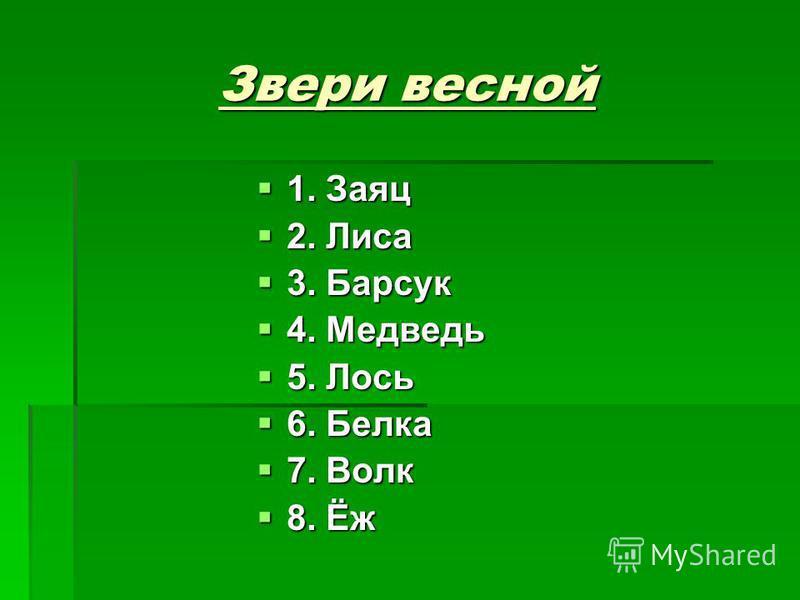 Звери весной 1. Заяц 1. Заяц 2. Лиса 2. Лиса 3. Барсук 3. Барсук 4. Медведь 4. Медведь 5. Лось 5. Лось 6. Белка 6. Белка 7. Волк 7. Волк 8. Ёж 8. Ёж