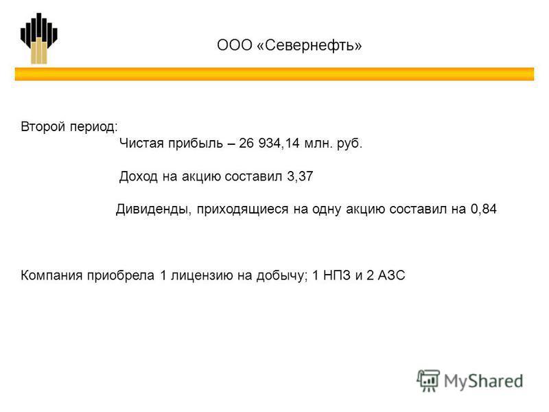 Второй период: Чистая прибыль – 26 934,14 млн. руб. Доход на акцию составил 3,37 Дивиденды, приходящиеся на одну акцию составил на 0,84 Компания приобрела 1 лицензию на добычу; 1 НПЗ и 2 АЗС ООО «Севернефть»