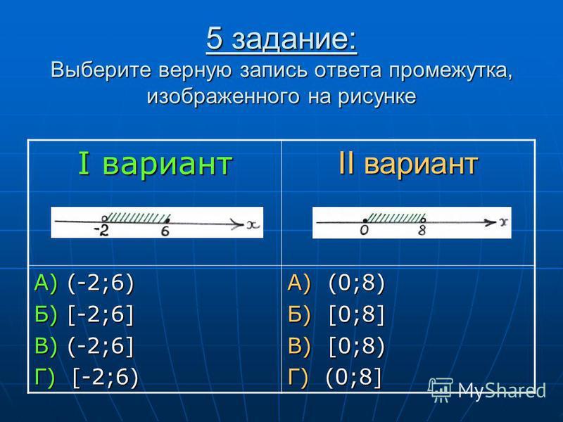 5 задание: Выберите верную запись ответа промежутка, изображенного на рисунке I вариант II вариант А) (-2;6) Б) [-2;6] В) (-2;6] Г) [-2;6) А) (0;8) Б) [0;8] В) [0;8) Г) (0;8]