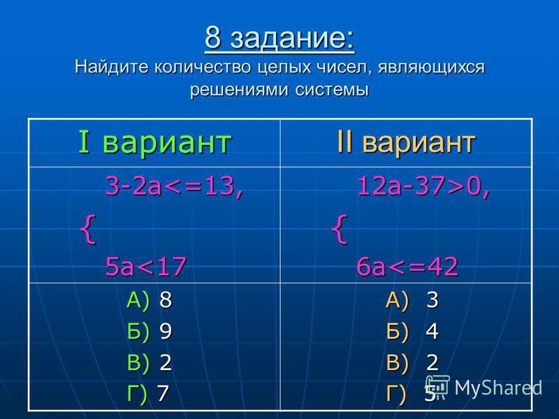 8 задание: Найдите количество целых чисел, являющихся решениями системы I вариант II вариант 3-2 а<=13, 3-2 а<=13, { 5a<17 5a<17 12a-37>0, 12a-37>0, { 6a<=42 6a<=42 А) 8 А) 8 Б) 9 Б) 9 В) 2 В) 2 Г) 7 Г) 7 А) 3 А) 3 Б) 4 Б) 4 В) 2 В) 2 Г) 5 Г) 5