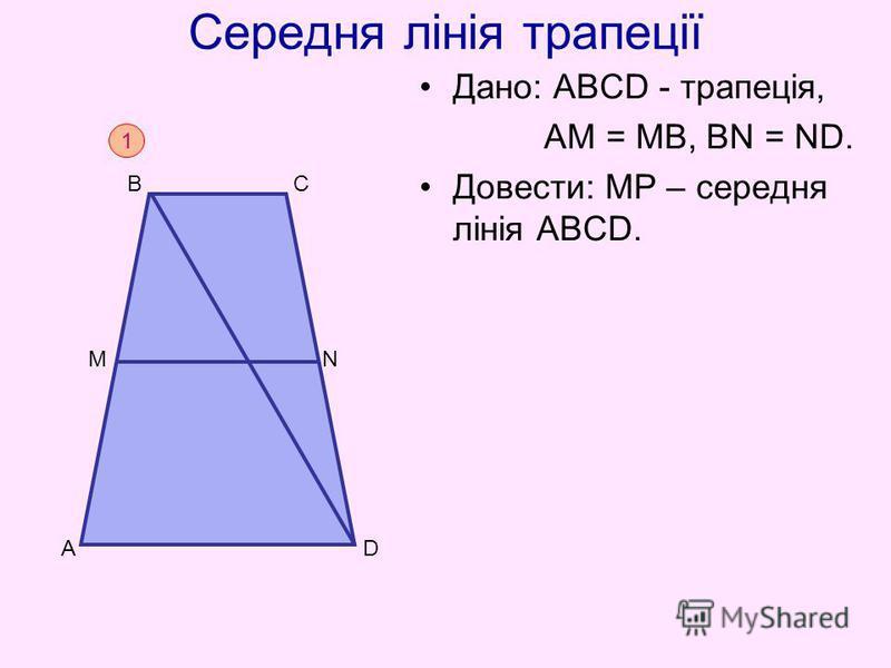 Середня лінія трапеції Дано: АВСD - трапеція, АM = МВ, ВN = ND. Довести: МР – середня лінія АВСD. 1 D B C A N M